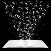 Buch mit fliegenden Buchstaben