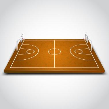Vector illustration of 3d Basketball field.