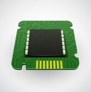 Vector computer chip or microchip. Stylized icons. CPU