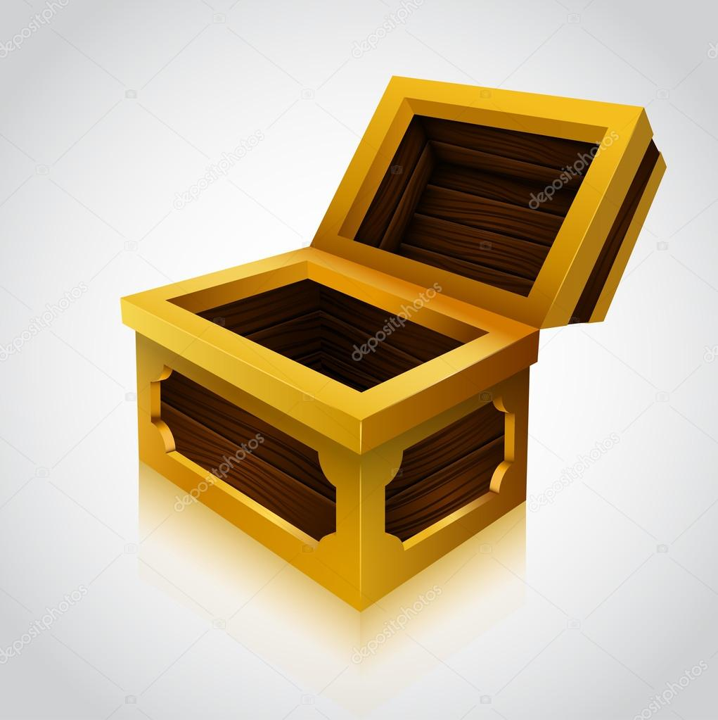 of an wooden treasure chest empty variant u2014 stock vector