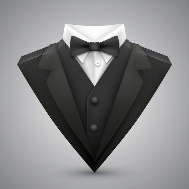 Vector triangle jacket with a bow tie.