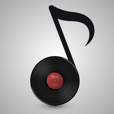 Abstract music background. Vinyl disk in the form of notes