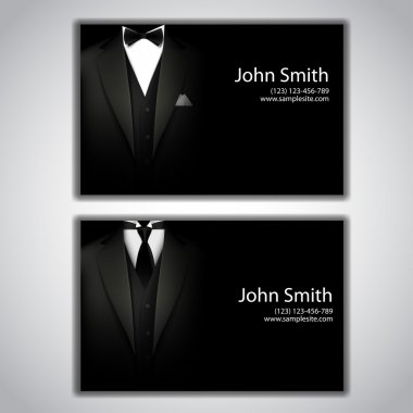 Vector triangle jacket and tie and a bow tie. business card