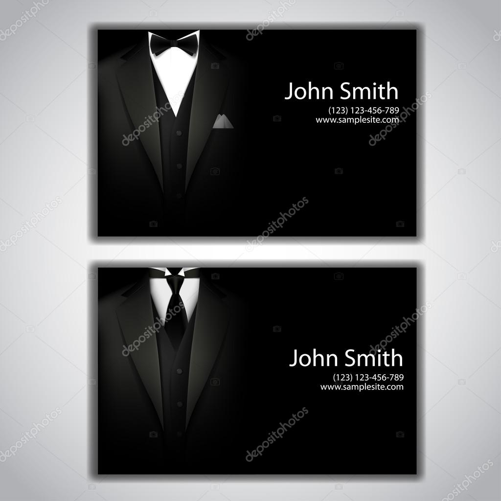 Vector triangle jacket and tie and a bow tie. business card ...