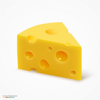 Triangular piece of cheese. Vector