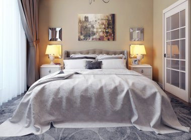 Bedroom in neoclassicism style