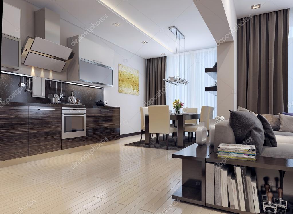Eetkamer keuken moderne stijl u stockfoto kuprin