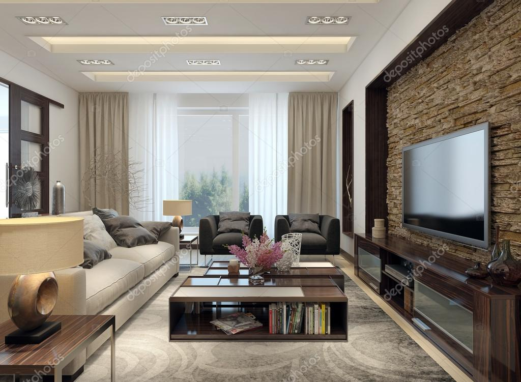 soggiorno stile moderno — Foto Stock © kuprin33 #49110323