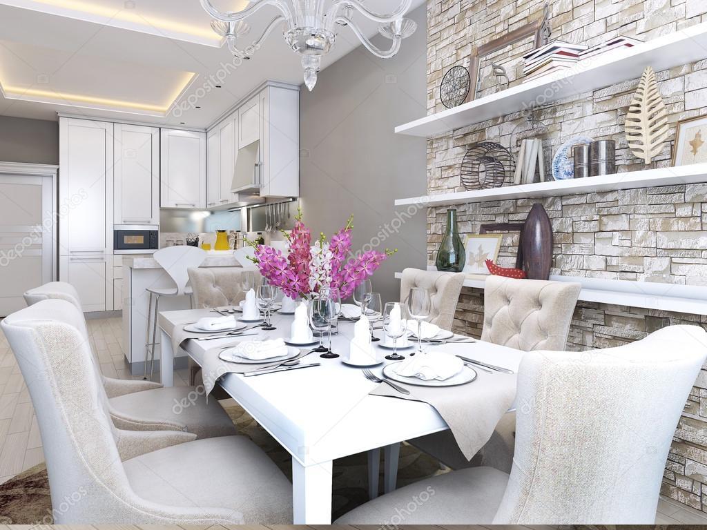 cucina sala da pranzo in stile neoclassico — Foto Stock © kuprin33 ...