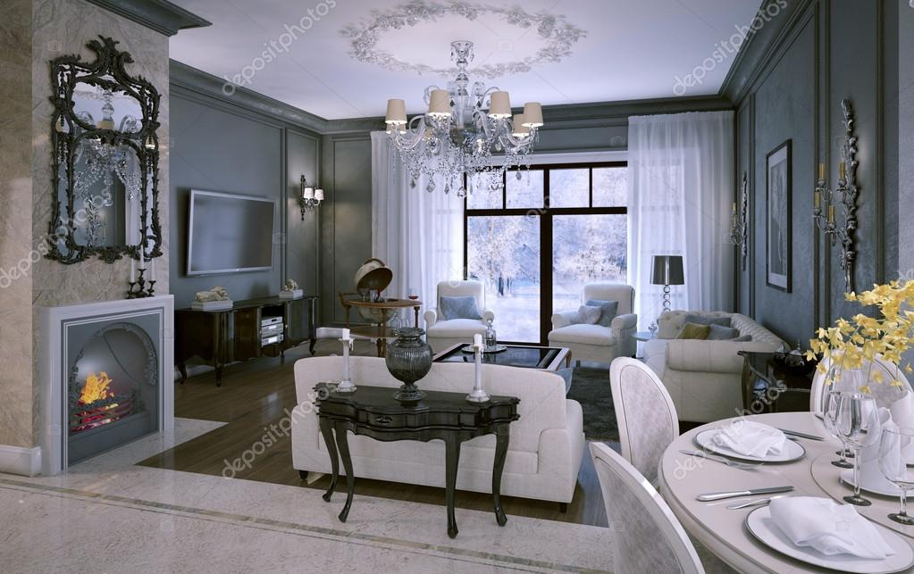 interieur woonkamer in klassieke stijl — Stockfoto © kuprin33 #49110423