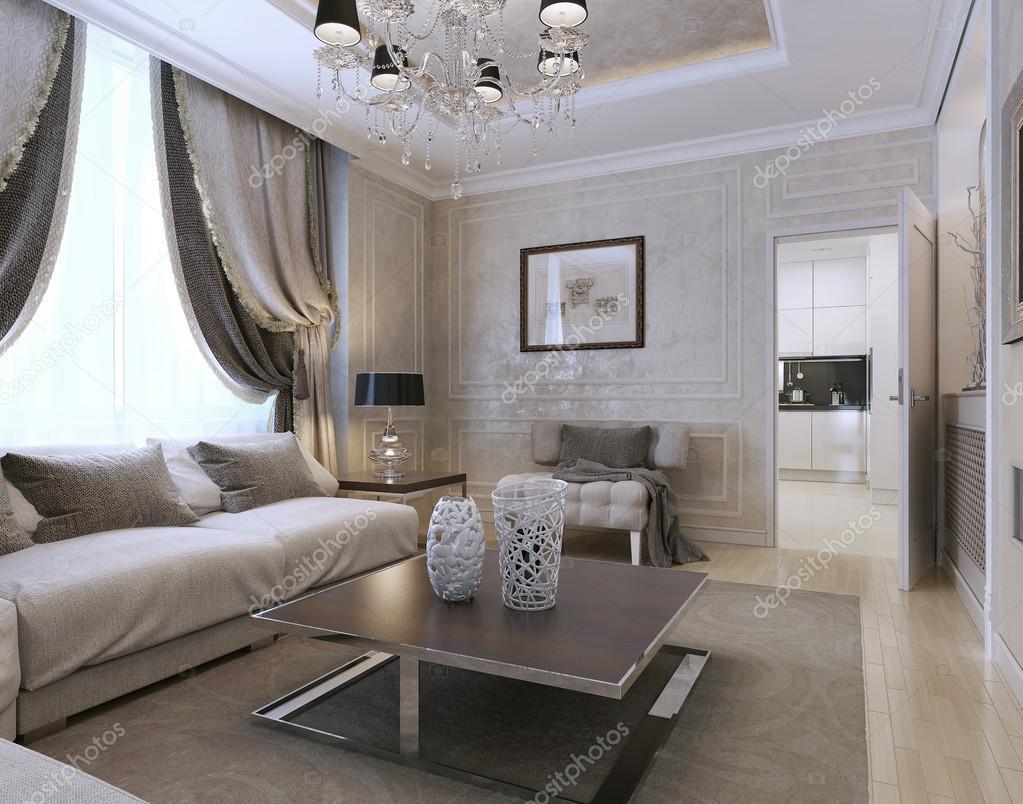 Living Room, Art Deco Style, Classic Style U2014 Stock Photo