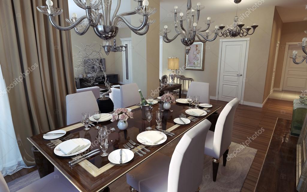 Luxury Dining Room Art Deco Style Stock Photo 49470283