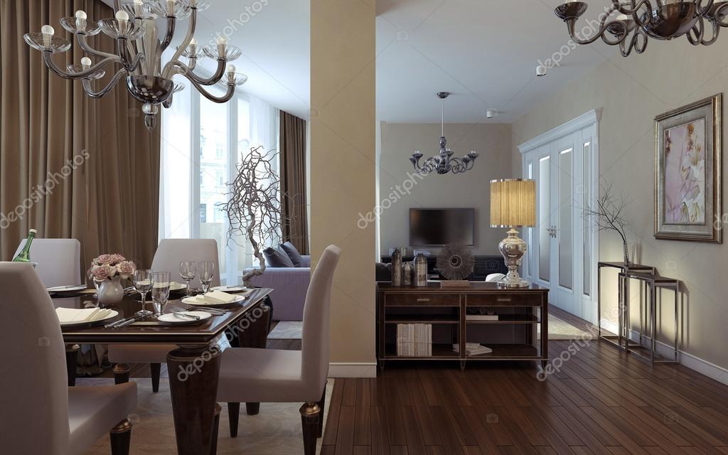 Luxus Wohnzimmer, Esszimmer, Art Deco-Stil — Stockfoto © kuprin33 ...