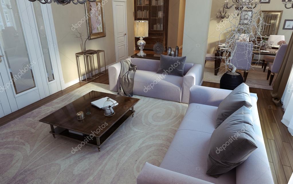 Luxe woonkamer eetkamer art decostijl u stockfoto kuprin