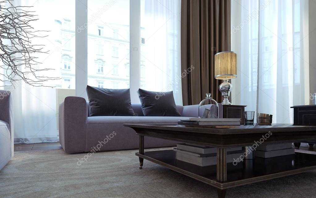 Luxe woonkamer eetkamer art decostijl u stockfoto