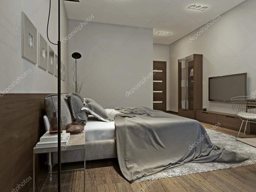 interno camera da letto in stile contemporaneo — Foto Stock ...