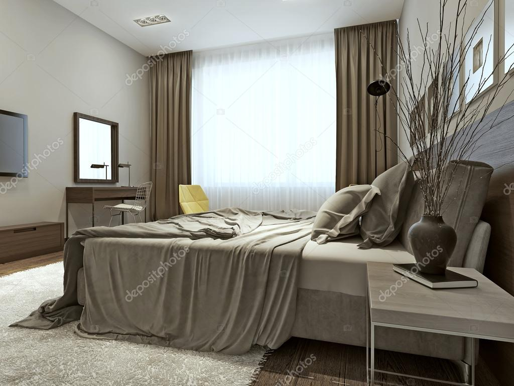 interno camera da letto in stile contemporaneo — Foto Stock ...