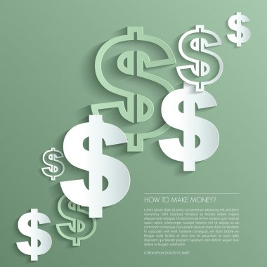 Vector dollar signs on green background.
