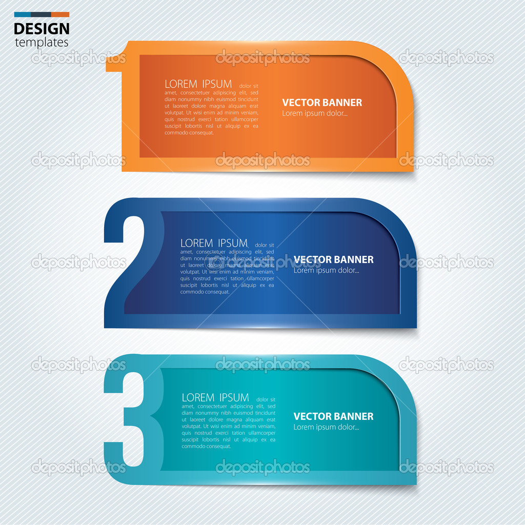 Set of numbered paper banners, bookmarks. Modern design template ...