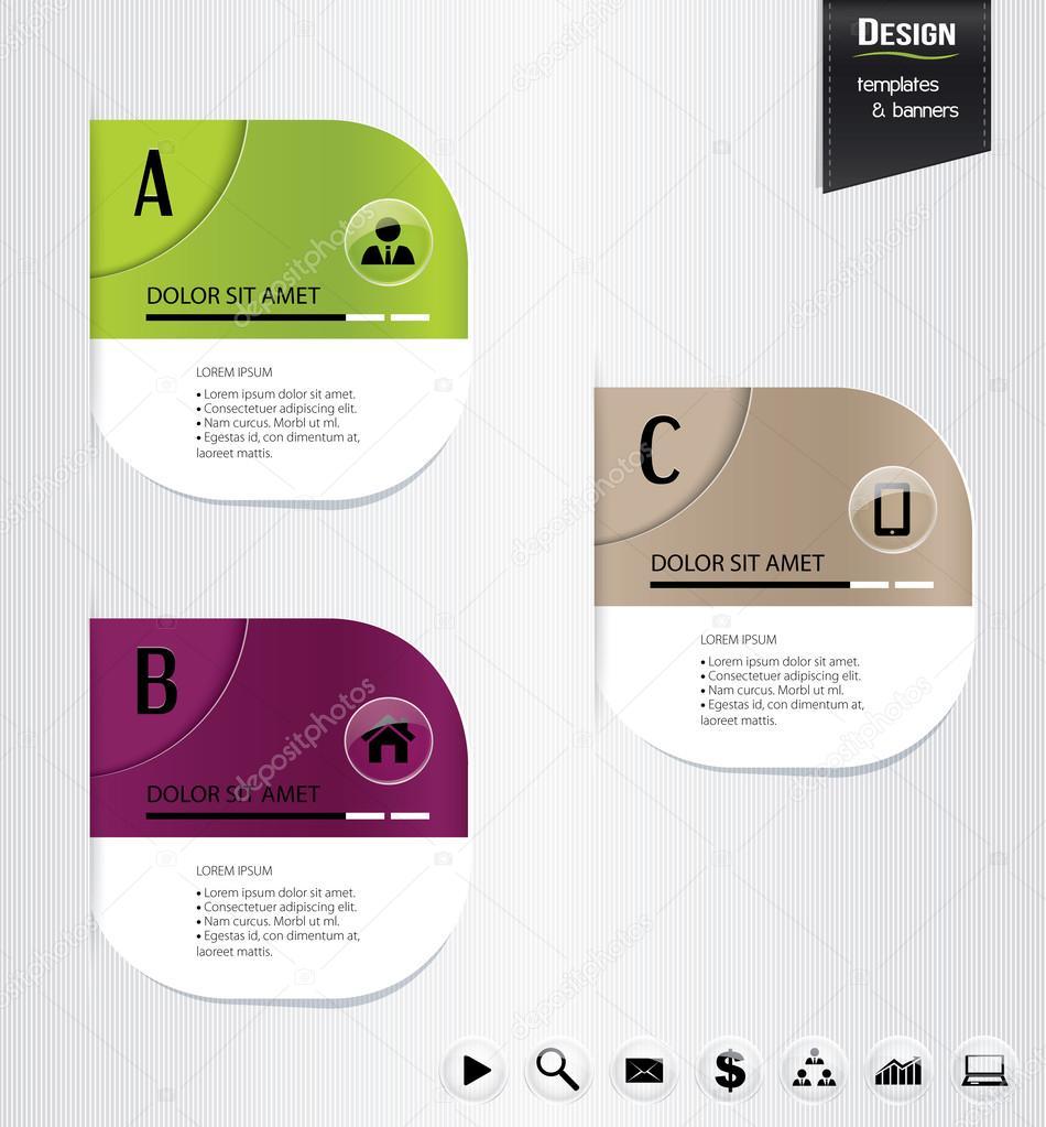 Reihe von bunten Banner, Lesezeichen, Etiketten, Website-Layouts ...