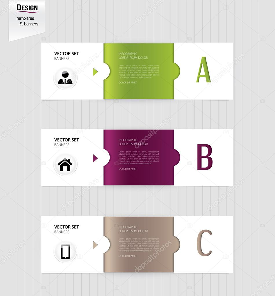 Set of colorful banners, bookmarks, labels, website layouts ...