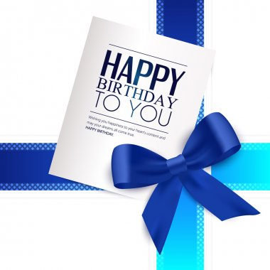 Birthday card with blue ribbon and birthday text.