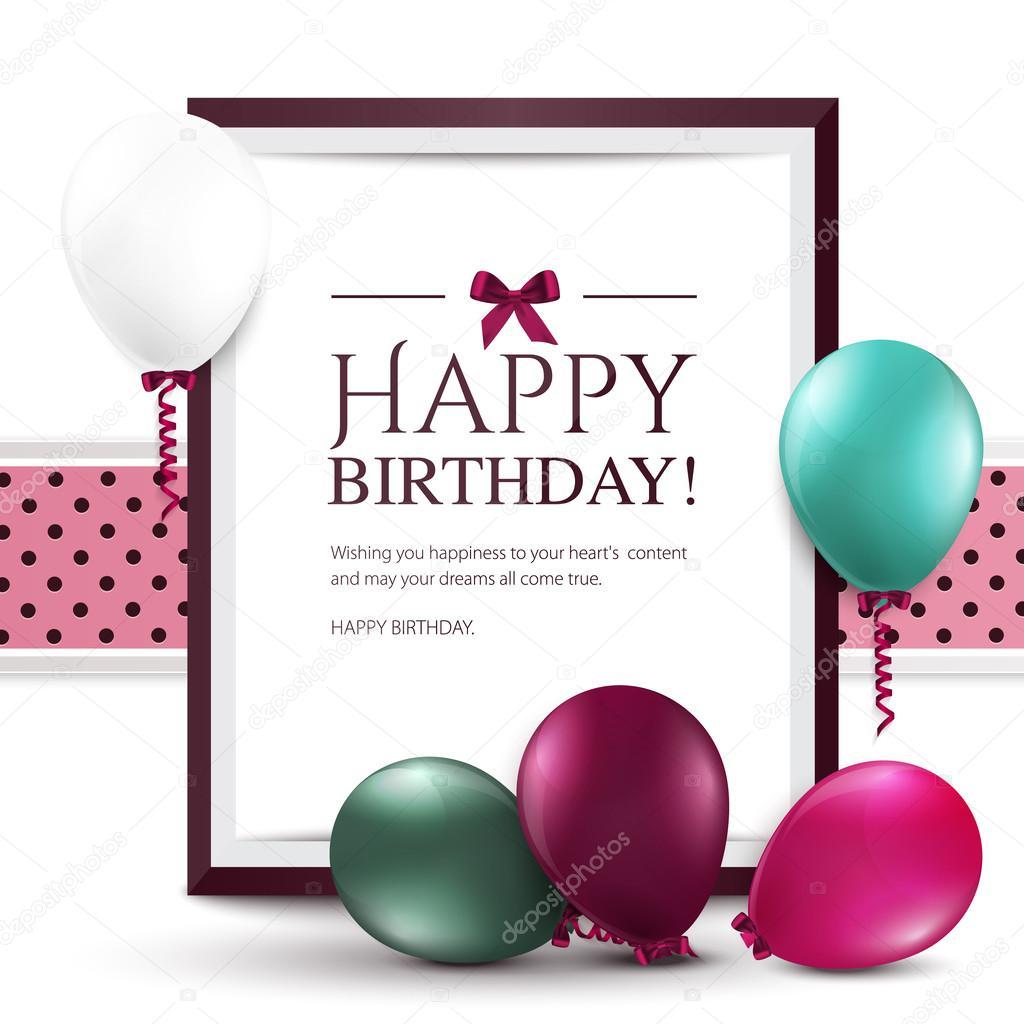 tarjeta de cumpleaños de Vector con globos y marco — Vector de stock ...