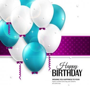 Vector birthday card with balloons, and birthday text. clip art vector
