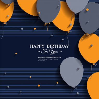 Vector birthday card with balloons and birthday text. stock vector