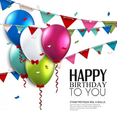 Vector birthday card with balloons and bunting flags.