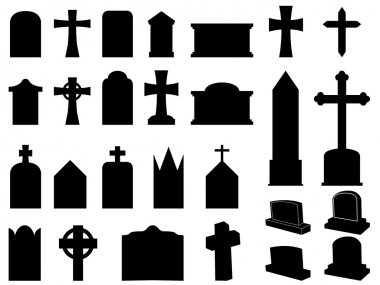 Gravestones and crosses