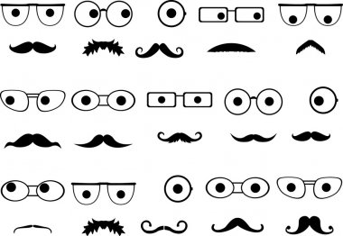 Invisible faces with glasses and mustaches