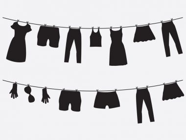 Clothes hanging on the strings