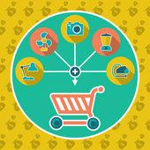 abstraktní internetové nákupní košík plochý koncept. přidat do košíku ilustrace