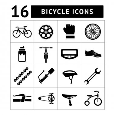 Set icons of bicycle, biking, bike parts and equipment