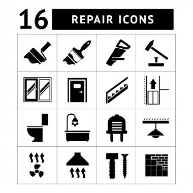Set icons repair and building isolated on white clip art vector