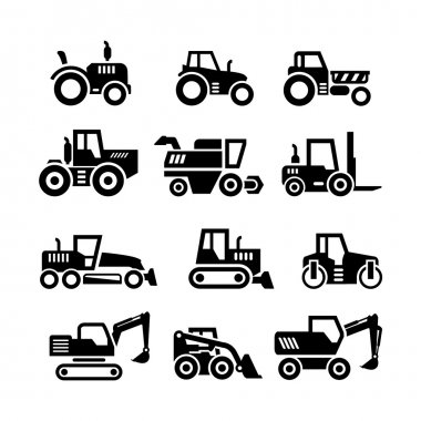 Set icons of tractors, farm and buildings machines, construction vehicles