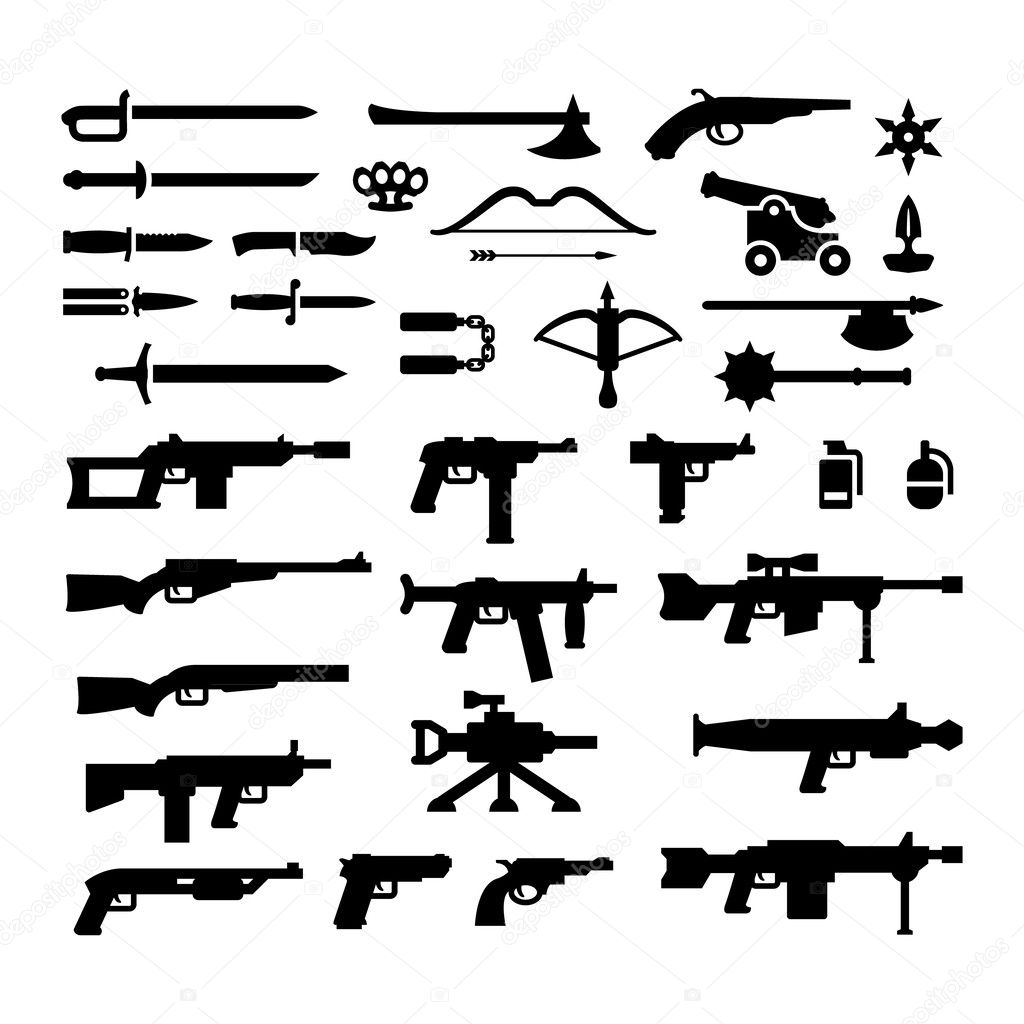 Set icons of weapons isolated on white stock vector