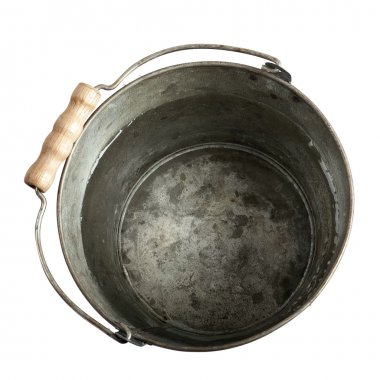 bucket of water with clipping path