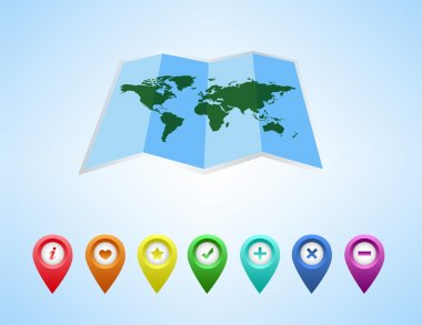 Vector map of the world and map navigation icons and pin on white background