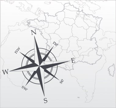 Vector map. Compass rose. Vector illustration. Black and white