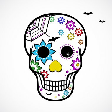 Decorative vector skull with flowers and bats