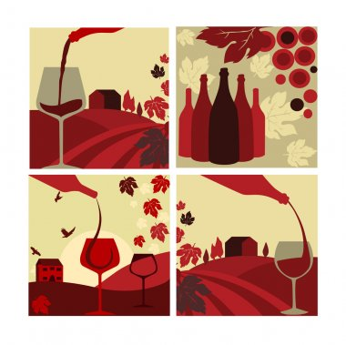 Set of vector wine concept. Flat style