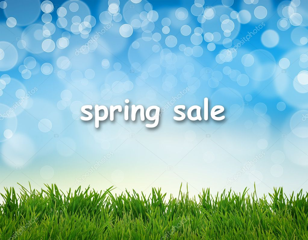 Word Spring Sale on abstract natural background
