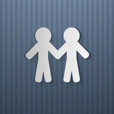 People Holding Hands Cut From Paper, Blue Cardboard stock vector
