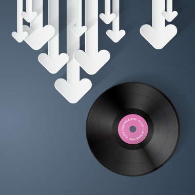 Vector Vinyl Record Disc Background with Paper Arrows