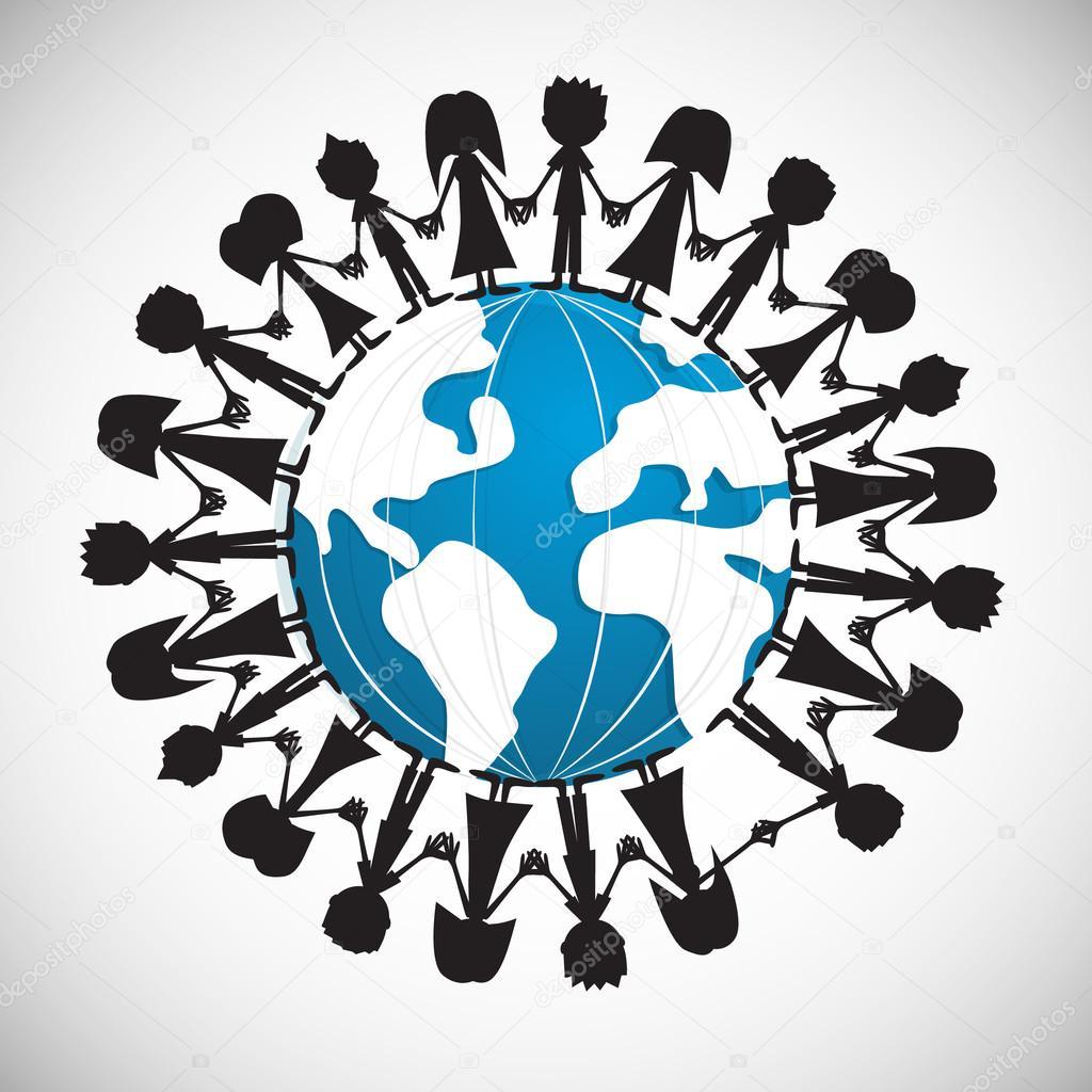 People Holding Hands Around Globe