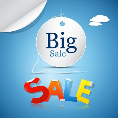 Big Sale on Blue Sky Background with Clouds