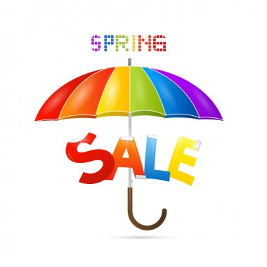 Colorful Spring Sale Background with Umbrella
