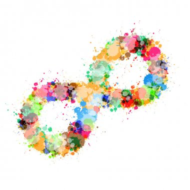 Abstract Vector Colorful Stain, Splash Infinity Symbol